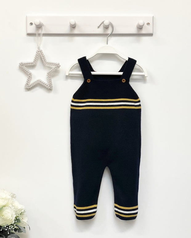 Granlei Navy & Mustard Striped Knit Dungarees | Millie and John