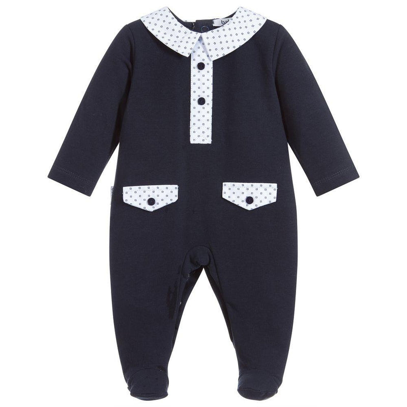 Babidu Navy Patterned Sleepsuit | Millie and John