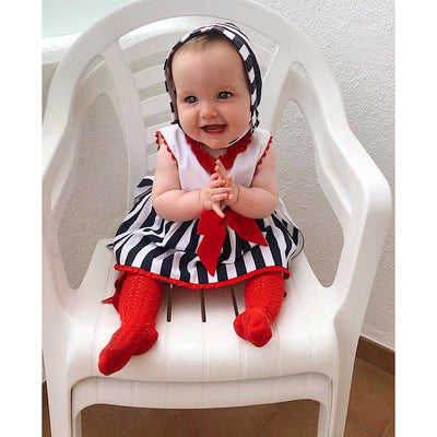 Baby-Ferr Navy & Red Striped Bow Dress, Bonnet and Knickers | Millie and John