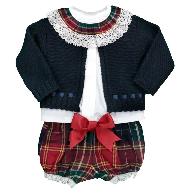 Baby-Ferr Navy & Red Tartan Cardigan, Blouse and Bloomers | Millie and John