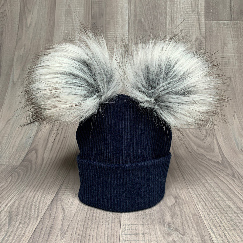 Millie and John Navy Ribbed Double Pom Pom Hat | Millie and John