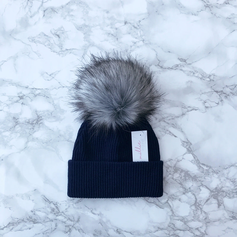 Millie and John Navy Ribbed Faux Fur Pom Pom Hat | Millie and John