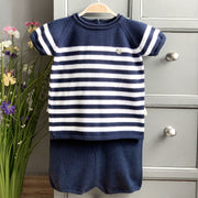 Granlei Navy Striped Knitted Top & Shorts | Millie and John