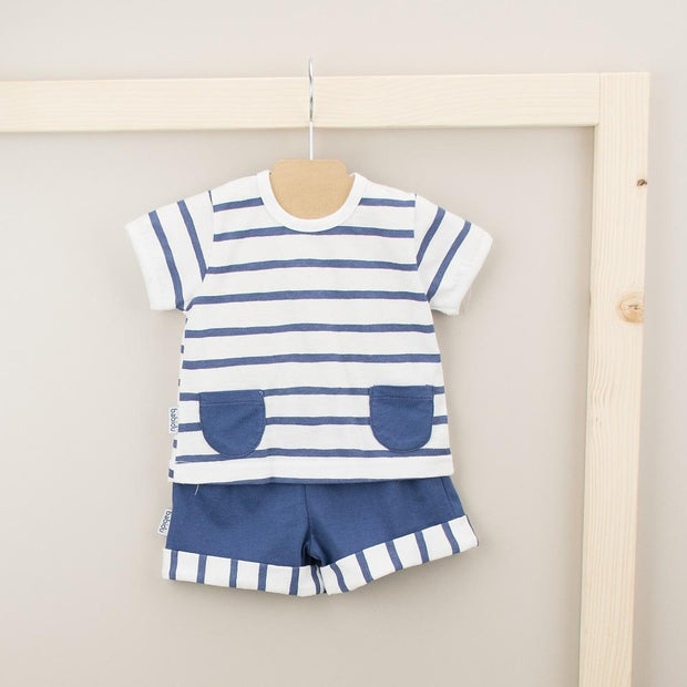 Babidu Navy Striped T-Shirt & Shorts | Millie and John