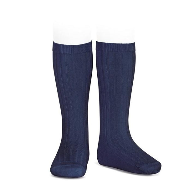 Condor Navy Wide Ribbed Knee High Socks | Millie and John