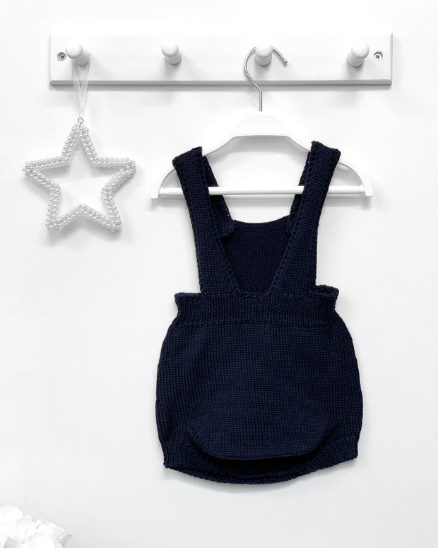 Wedoble Navy Wool Dungaree Romper | Millie and John