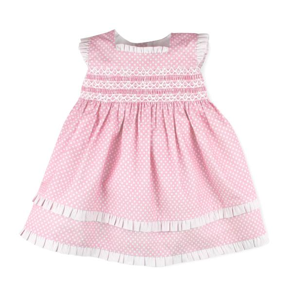 "Sardon ""Nuria"" Polka Dot Smocked Dress 