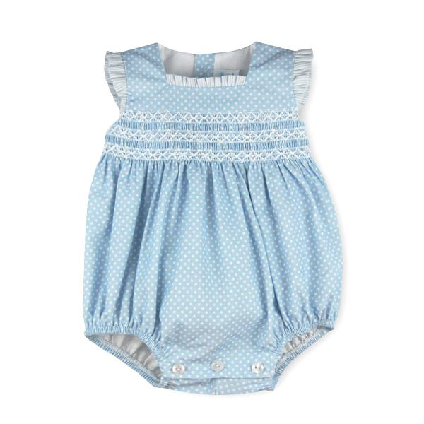 "Sardon ""Nuria"" Polka Dot Smocked Romper 
