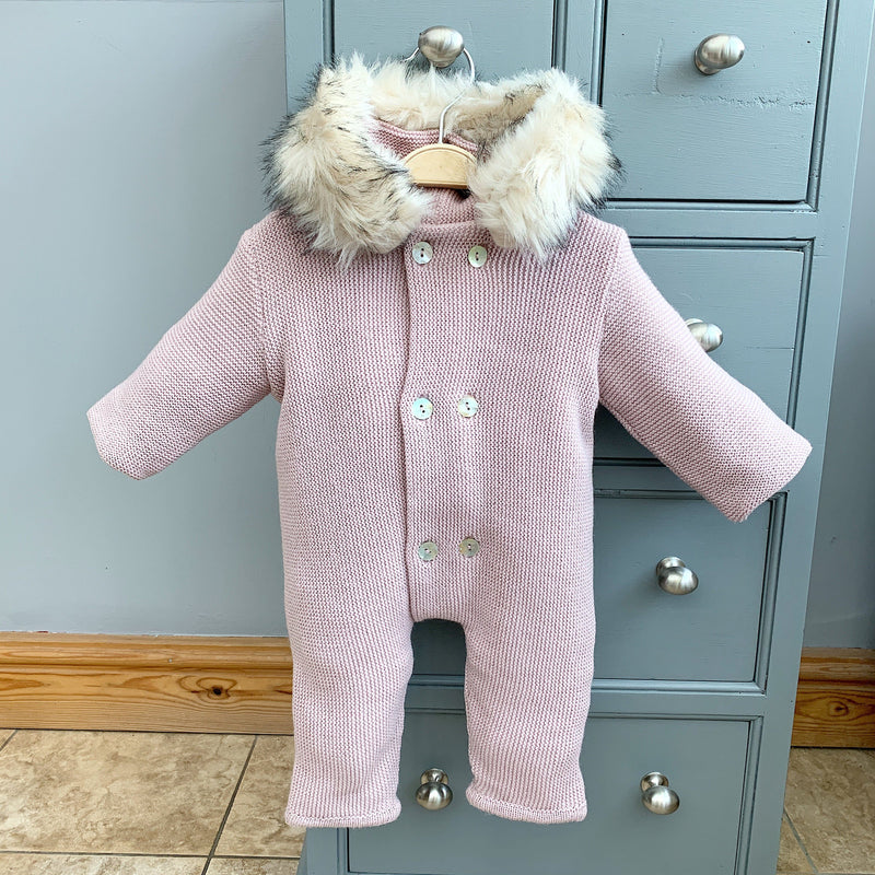 Mebi Pale Rose Knitted Footless Pramsuit with Faux Fur Trim | Millie and John