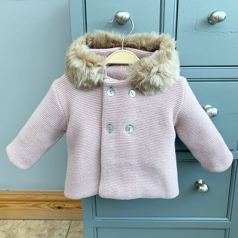 Mebi Pale Rose Knitted Jacket with Faux Fur Trim | Millie and John