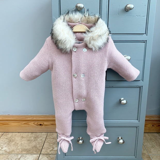 Mebi Pale Rose Knitted Pramsuit with Faux Fur Trim | Millie and John