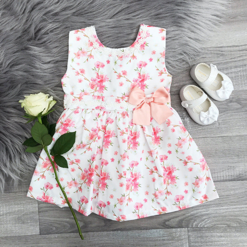 Little Nosh Peach Floral Dress | Millie and John
