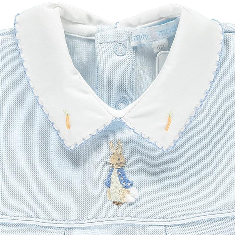 Mini-la-Mode Peter Rabbit Blue Knit Romper | Millie and John