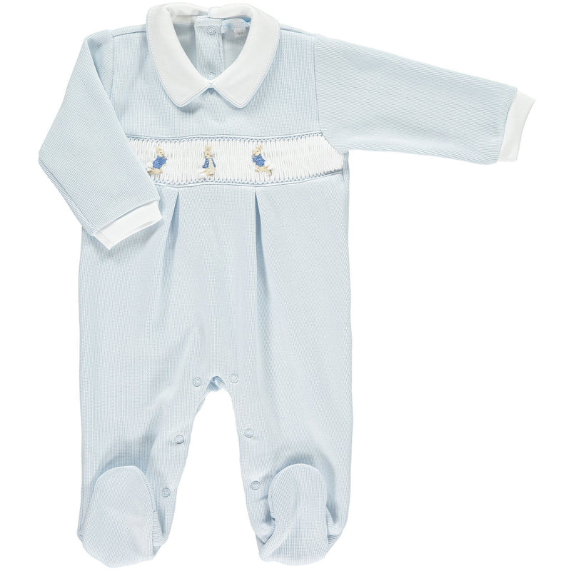 Mini-la-Mode Peter Rabbit Blue Smocked Knit Footsie | Millie and John