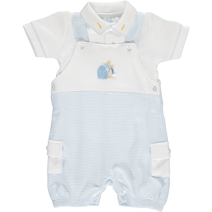 Mini-la-Mode Peter Rabbit Blue Striped Dungaree Set | Millie and John
