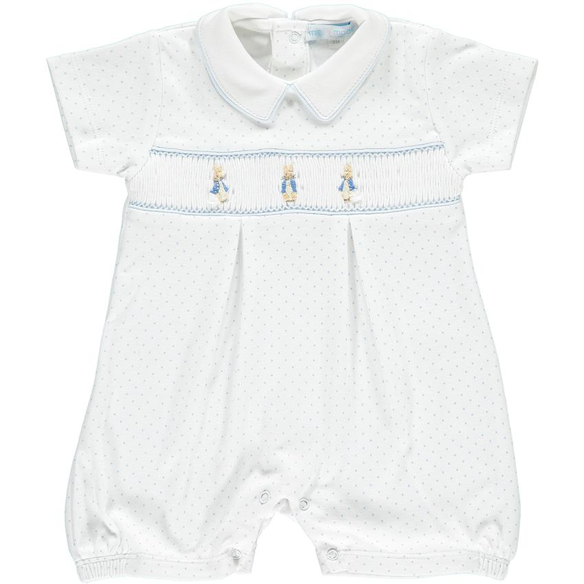 Mini-la-Mode Peter Rabbit White & Blue Polka Dot Smocked Romper | Millie and John