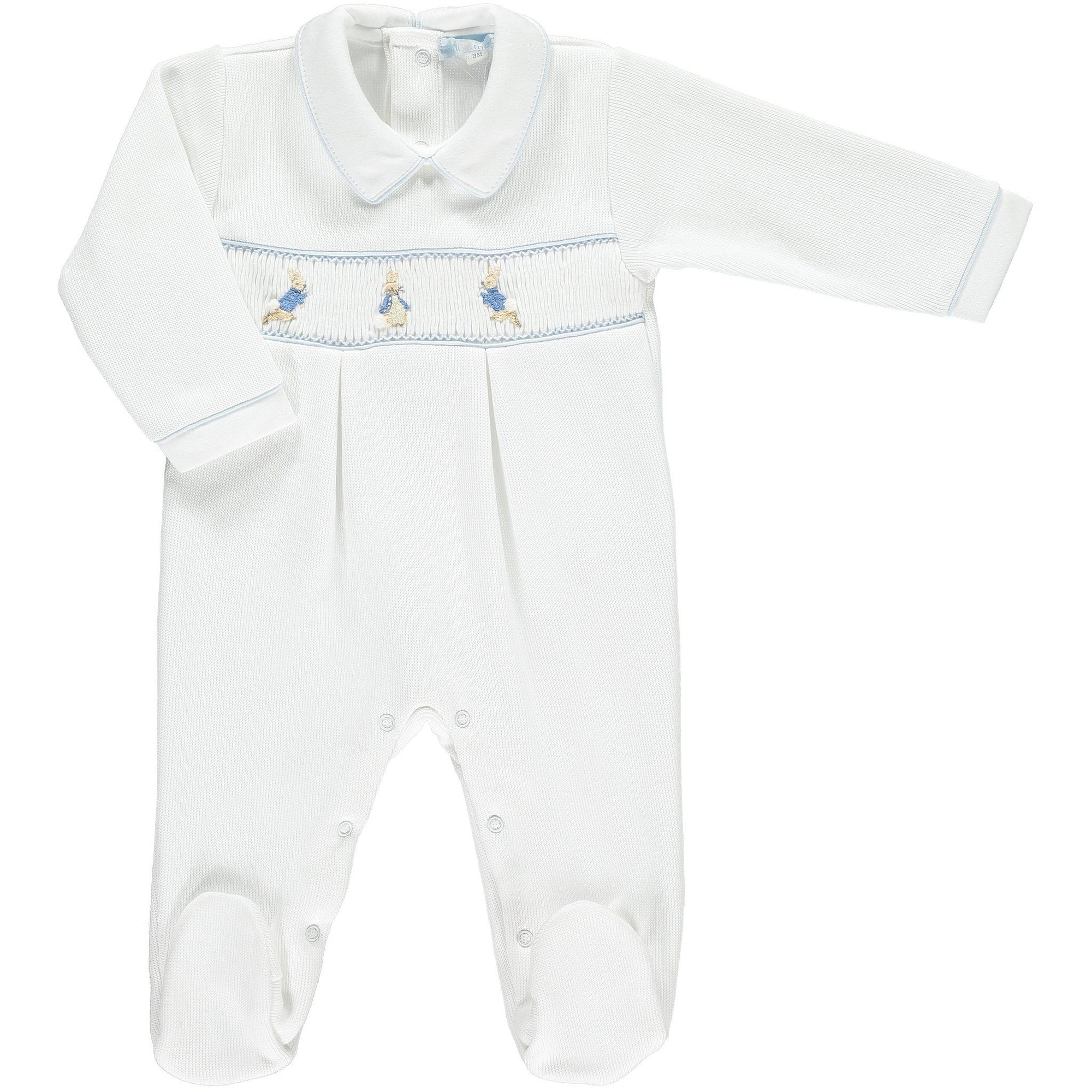 Mini-la-Mode Peter Rabbit White Smocked Knit Footsie | Millie and John