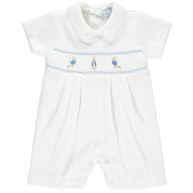 Mini-la-Mode Peter Rabbit White Smocked Knit Romper | Millie and John