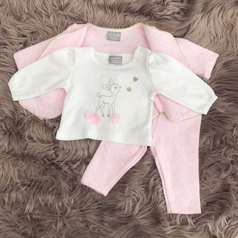 Rock-a-Bye Pink Bambi Quilted 3-Piece Set | Millie and John
