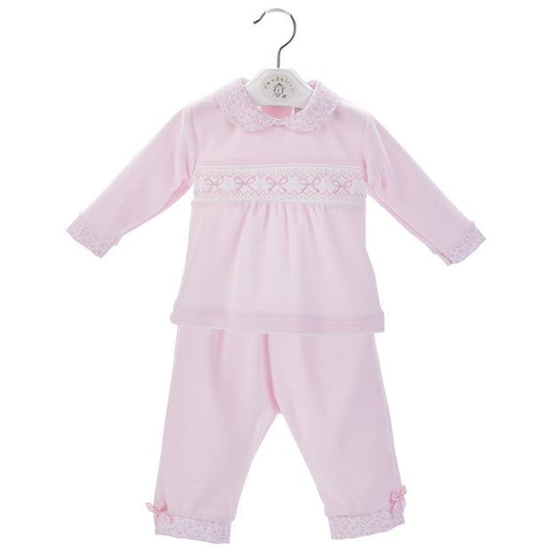Dandelion Pink Bow Smocked Velour 2-Piece | Millie and John