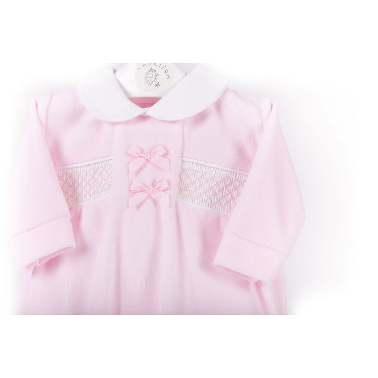 Dandelion Pink Bow Smocked Velour Sleepsuit | Millie and John