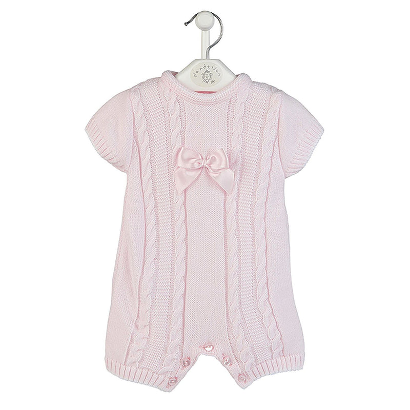 Dandelion Pink Cable Knit Bow Romper | Millie and John