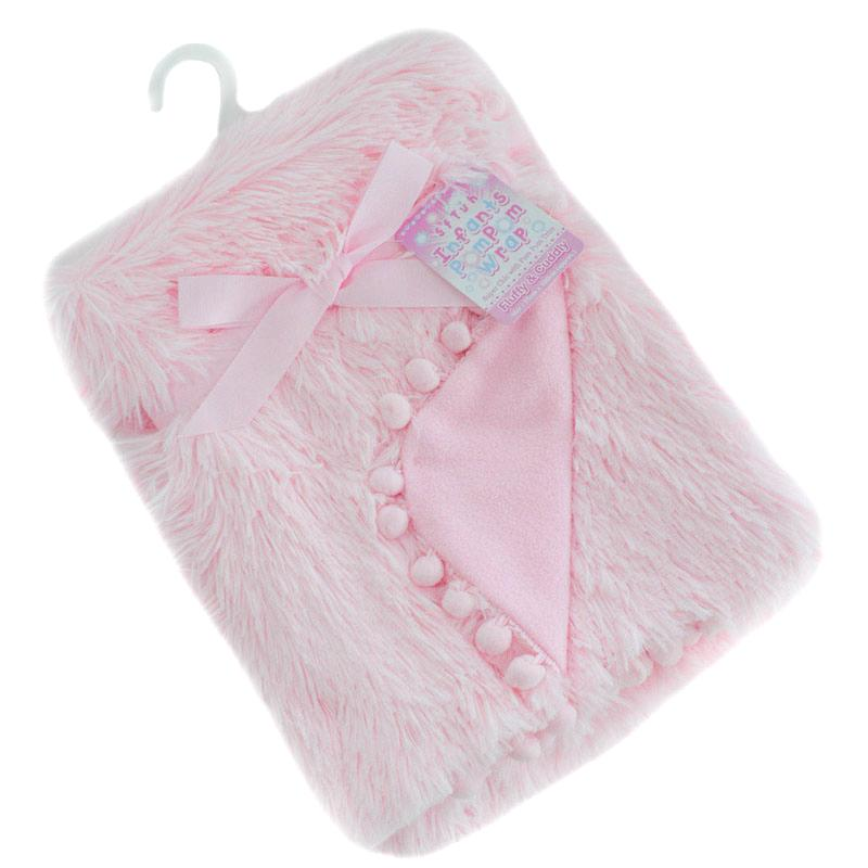 Soft Touch Pink Deluxe Faux Fur Blanket with Pom Poms | Millie and John