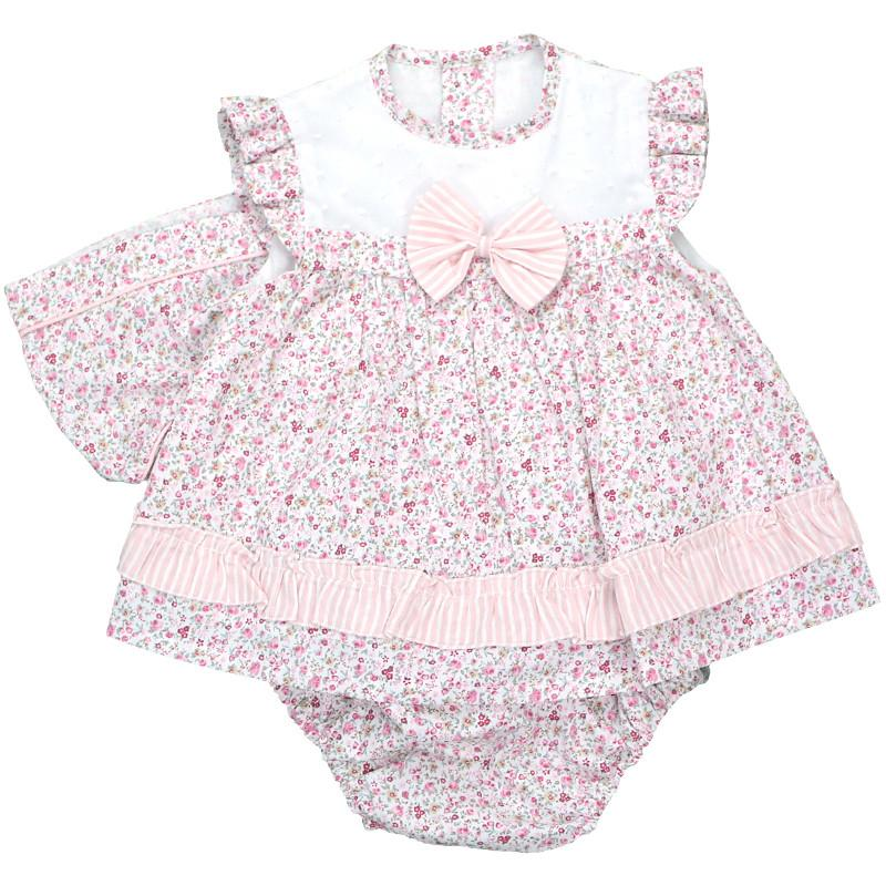 Baby-Ferr Pink Ditsy Floral Dress, Knickers & Bonnet | Millie and John