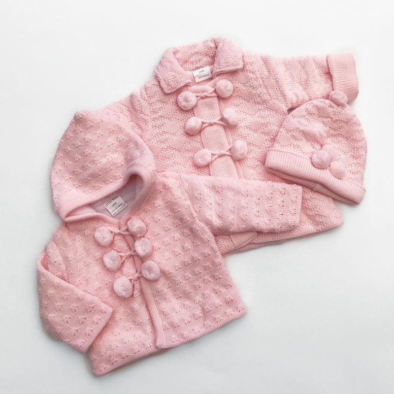 Little Nosh Pink Fleece Lined Knitted Hoodie | Millie and John