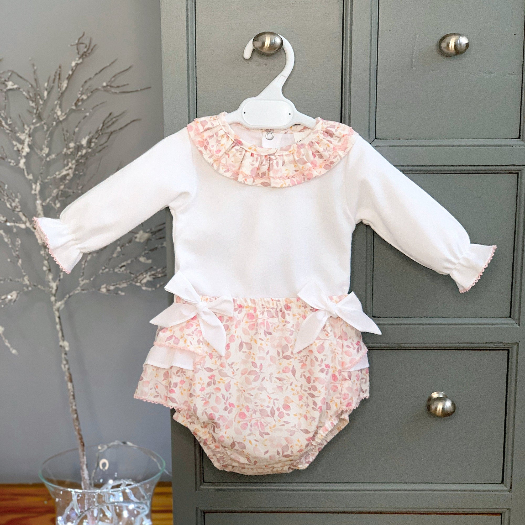 Little Nosh Pink Floral Blouse & Bloomers | Millie and John