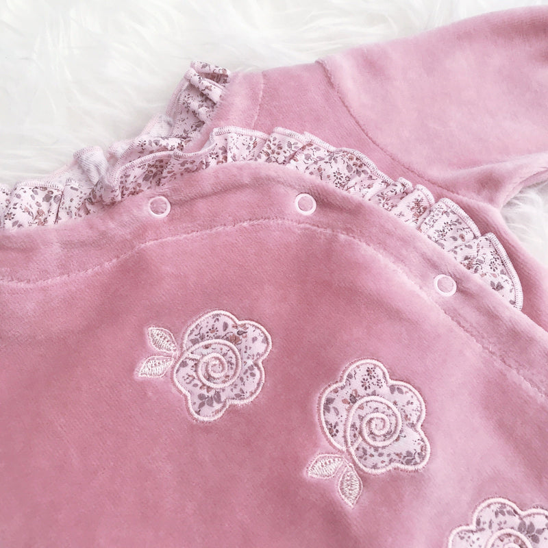 Dandelion Pink Floral Velour All-in-One | Millie and John