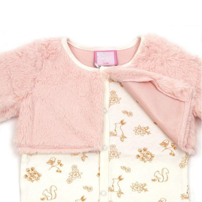 Chloe Louise Pink Fur Cardigan and Sleepsuit Set | Millie and John