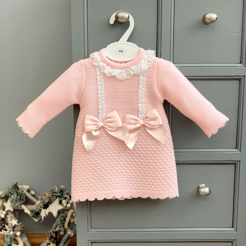 Little Nosh Pink Garter Stitch Bow Dress | Millie and John