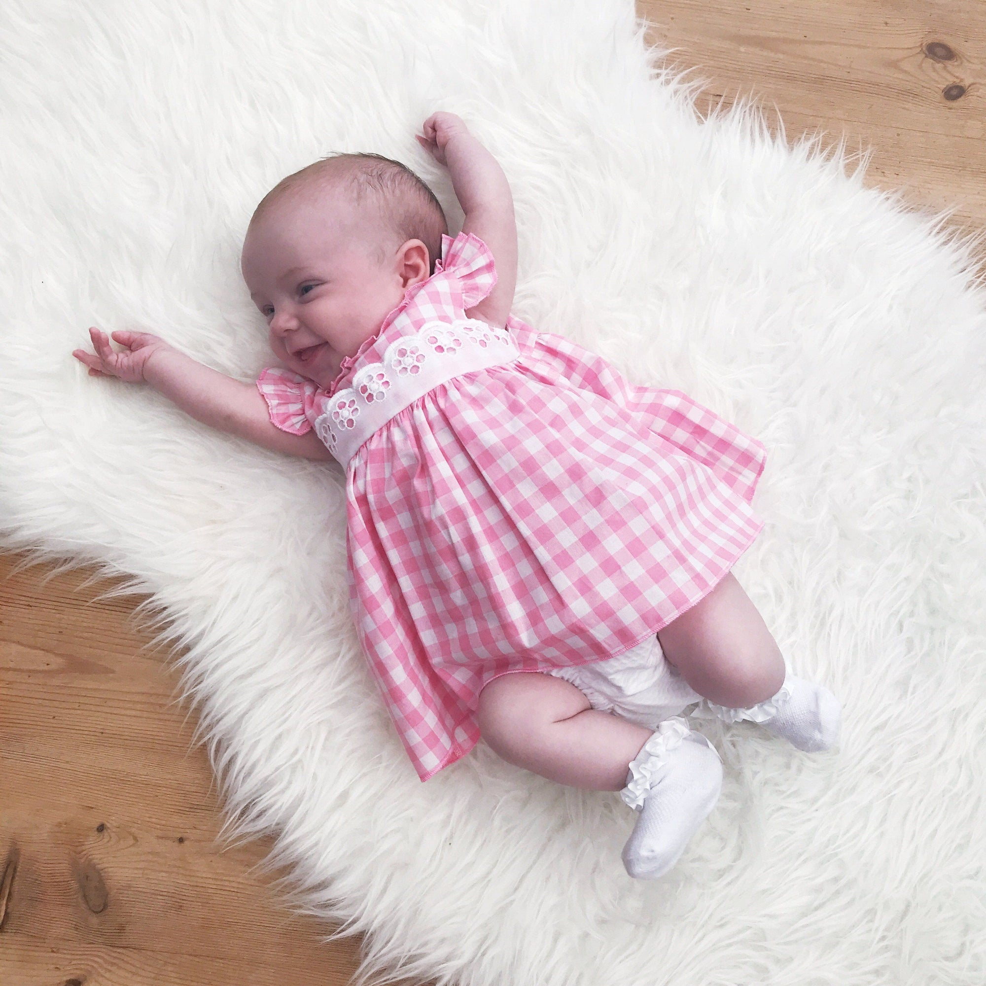 Alber Pink Gingham Dress with Knickers | Millie and John
