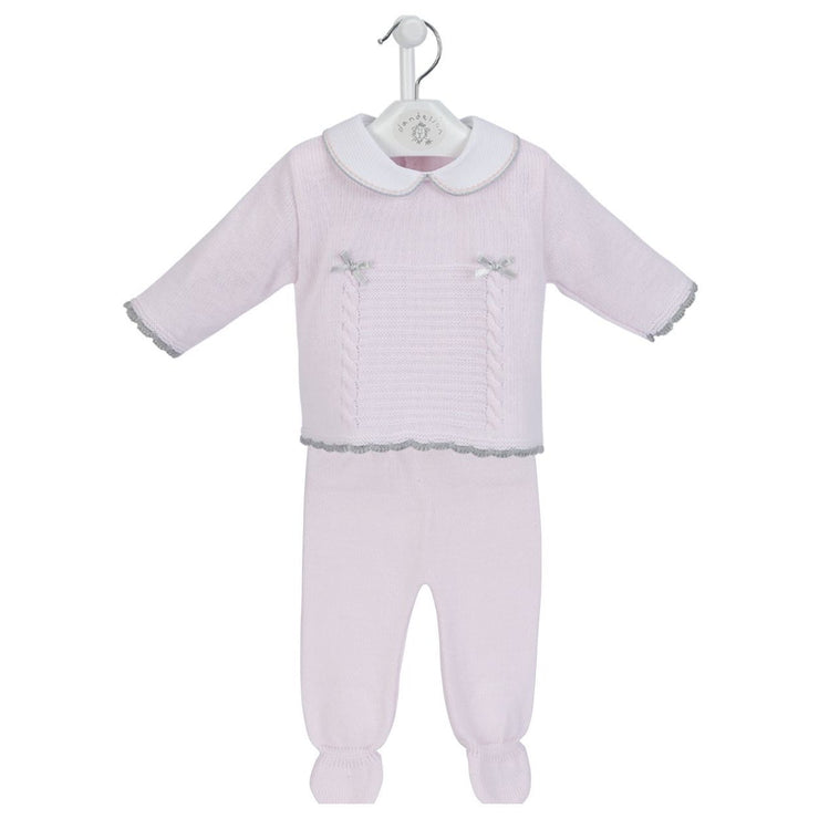 Dandelion Pink & Grey Knitted 2-Piece Set | Millie and John