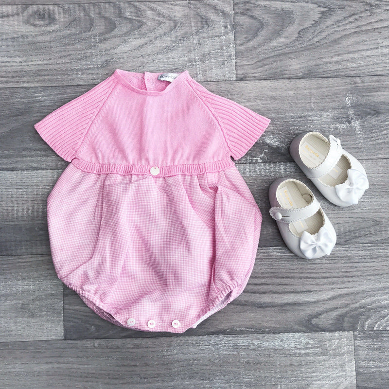 Wedoble Pink Half Knit Check Romper | Millie and John