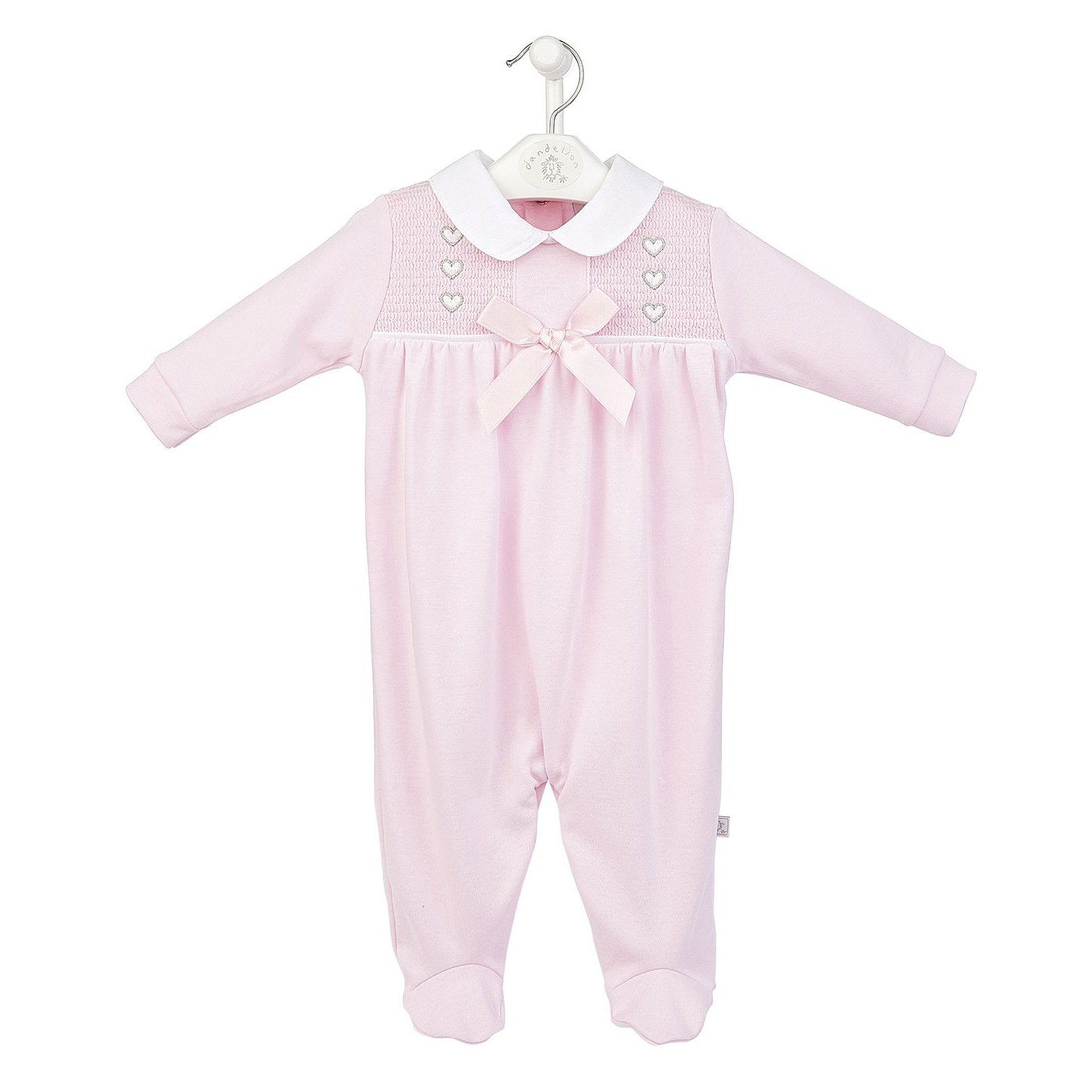 Dandelion Pink Heart Smocked Sleepsuit | Millie and John