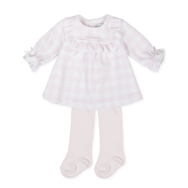 Tutto Piccolo Pink Houndstooth Velour Dress and Tights | Millie and John