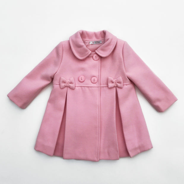 Alber Pink Inverted Pleat Bow Detail Coat | Millie and John