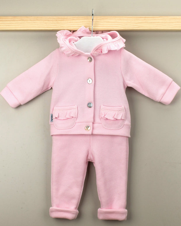Babidu Pink Knit Hooded Tracksuit | Millie and John