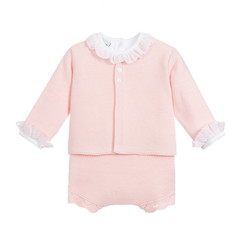 Babidu Pink Knitted 3-Piece Set | Millie and John