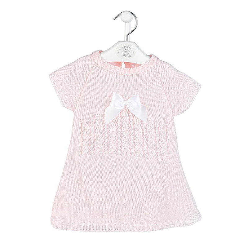 Dandelion Pink Knitted Bow Dress | Millie and John