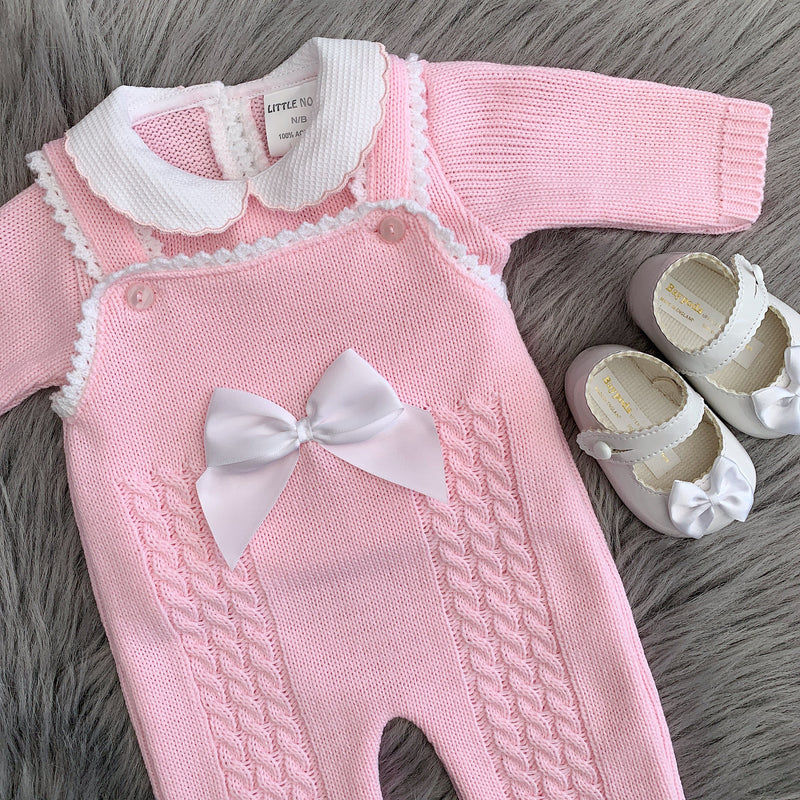 Little Nosh Pink Knitted Bow Dungaree Set | Millie and John