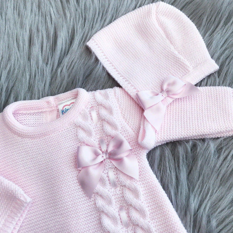 Kinder Pink Knitted Bow Romper & Bonnet | Millie and John