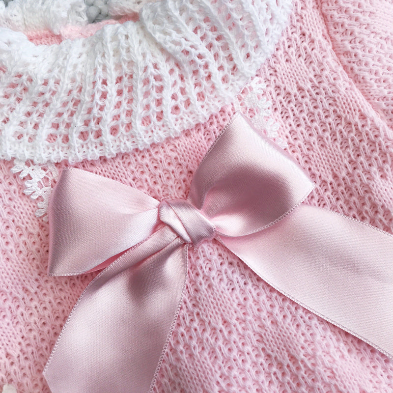Pink Knitted Bow T-Shirt & Knickers