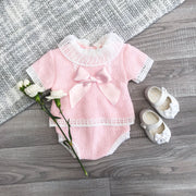 Little Nosh Pink Knitted Bow T-Shirt & Knickers | Millie and John