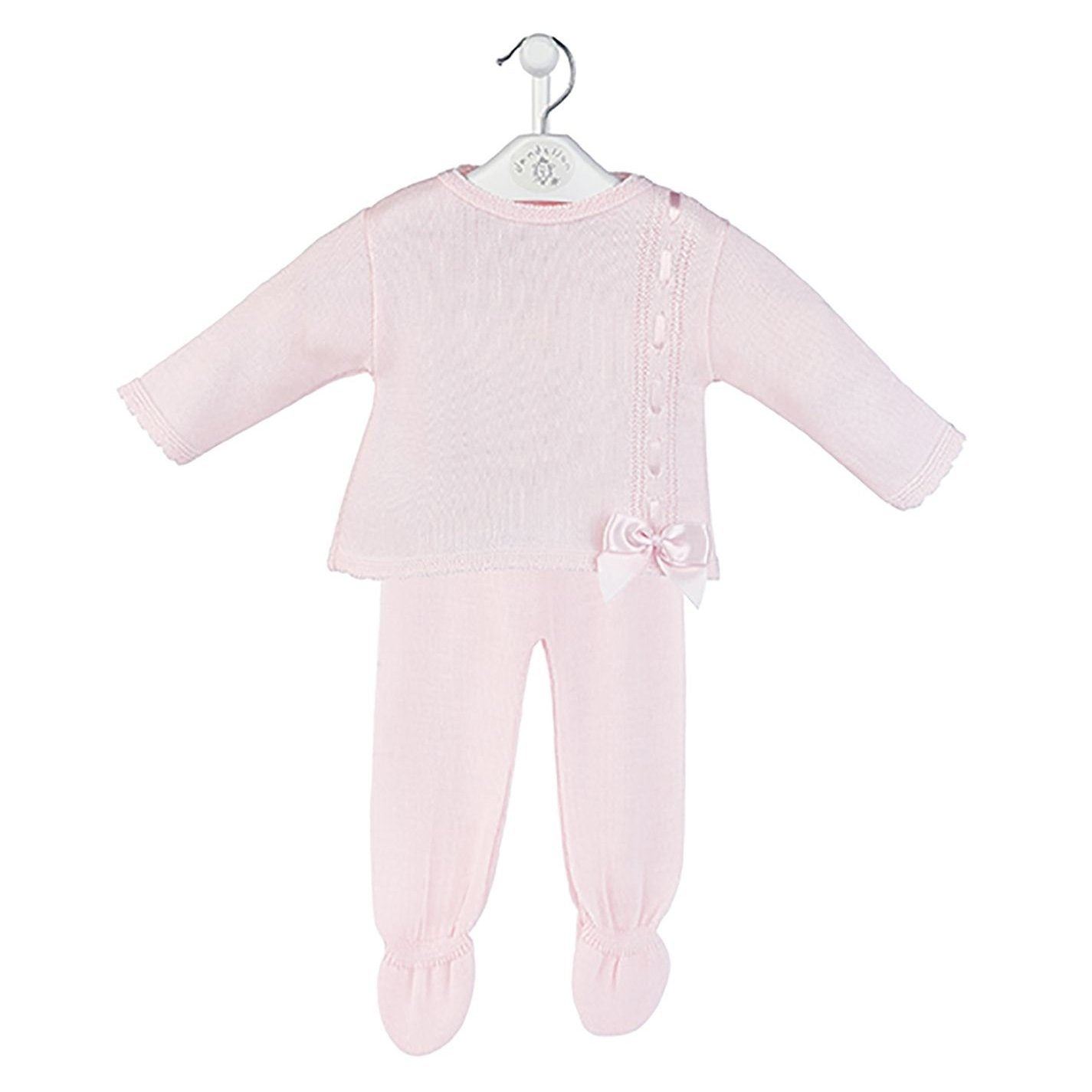 Dandelion Pink Knitted Bow Top & Leggings | Millie and John