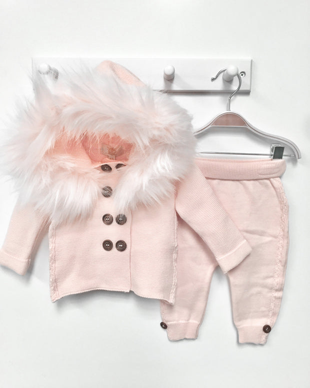 Caramelo Kids Pink Knitted Faux Fur Cardigan Set | Millie and John
