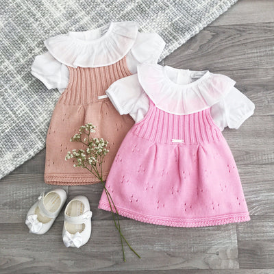 Wedoble Pink Knitted Pinafore Dress Set | Millie and John