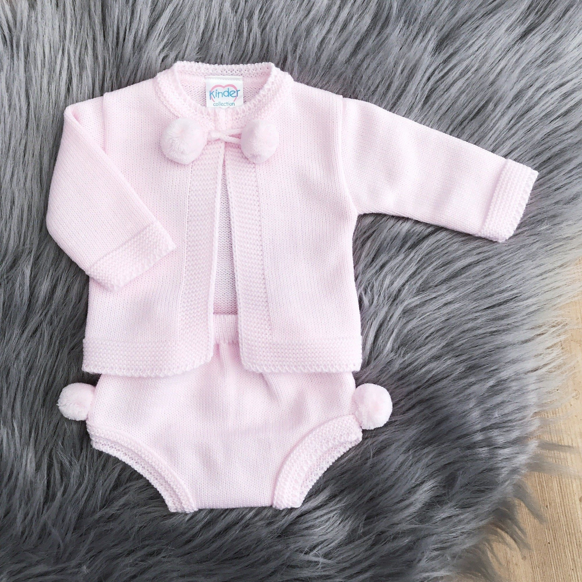 Kinder Pink Knitted Pom Pom Cardigan & Pants | Millie and John